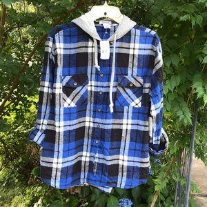 NWT Passport Blue Plaid Hooded Flannel Shirt XL